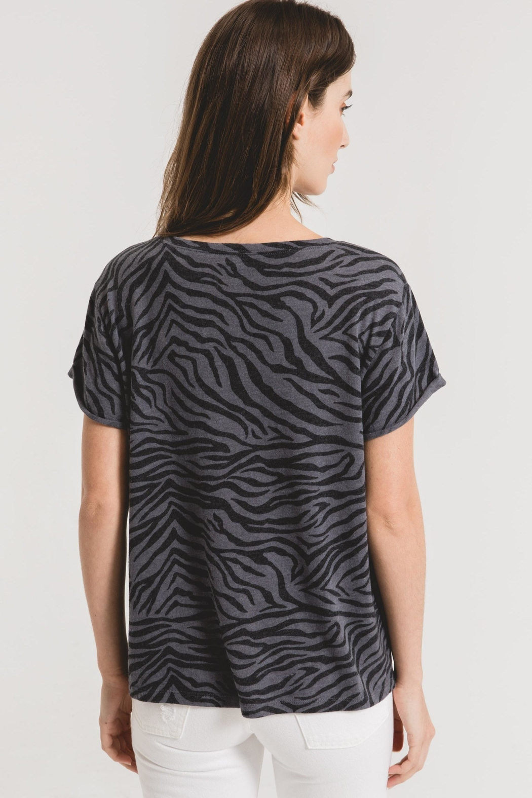 z supply Zebra Scoop Neck Tee-Ombre Blue - Back Cropped Image