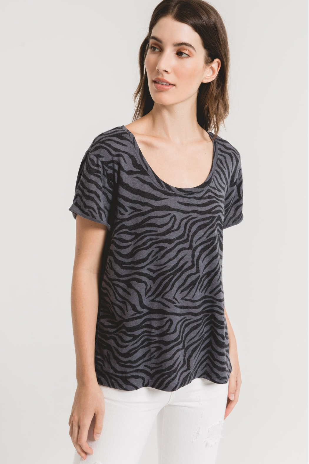 z supply Zebra Scoop Neck Tee-Ombre Blue - Front Cropped Image