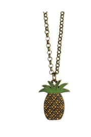 ZAD Gold-Enamel-Crystal Pineapple-Pendant Necklace - Front cropped