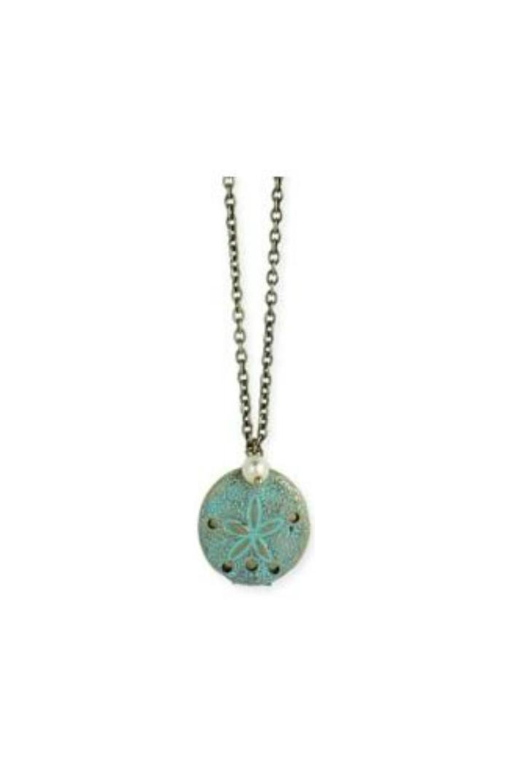 ZAD Gold-Enamel Sand-Dollar Locket-Necklace - Main Image