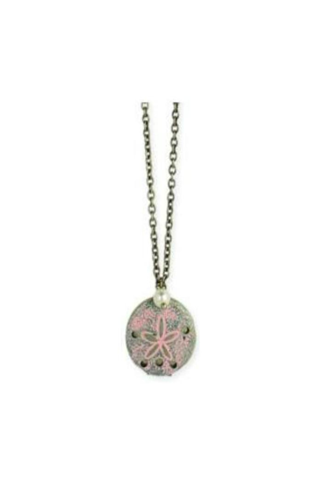 ZAD Gold-Enamel Sand-Dollar Locket-Necklace - Front Cropped Image