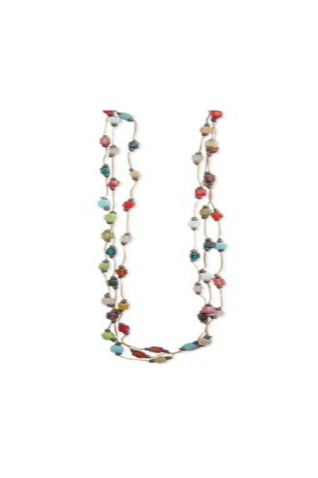 ZAD Mosaic Square-Bead Thread-Necklace - Main Image