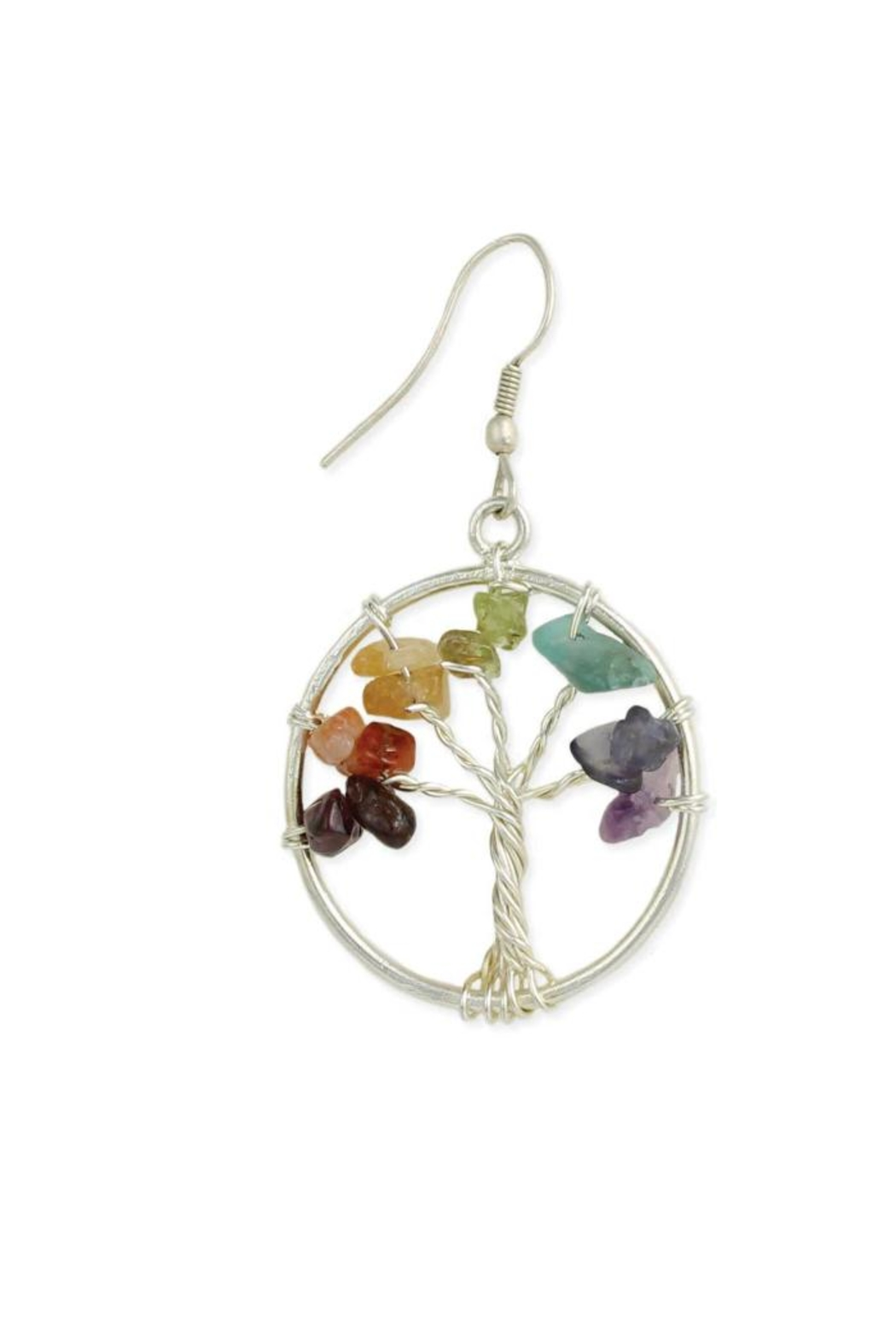 ZAD Multi-Agate-Chip Silver-Tree Earring - Main Image