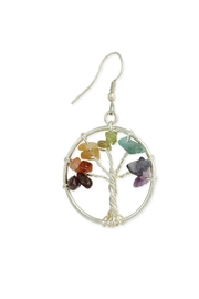 ZAD Multi-Agate-Chip Silver-Tree Earring - Front cropped