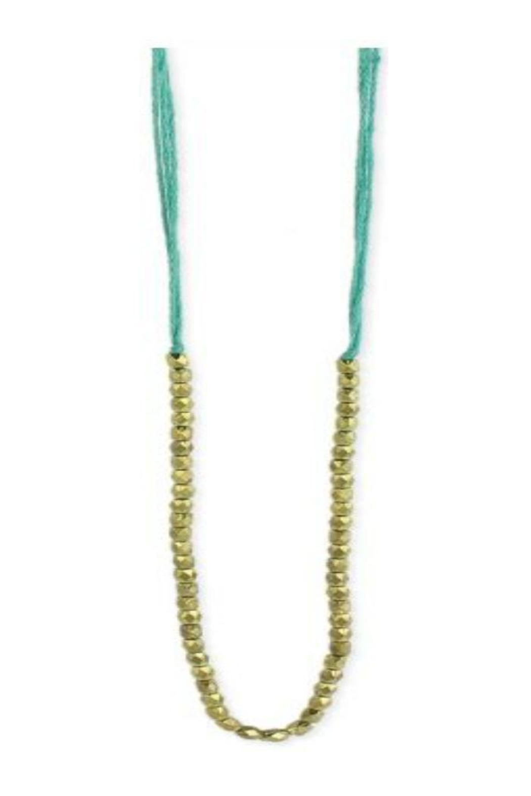 ZAD Pastel-Thread Gold-Bead Long-Necklace - Main Image