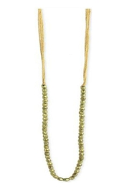 ZAD Pastel-Thread Gold-Bead Long-Necklace - Front cropped