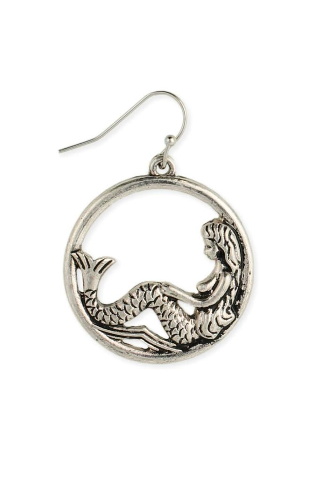 ZAD Silver-Round Mermaid Earring - Main Image