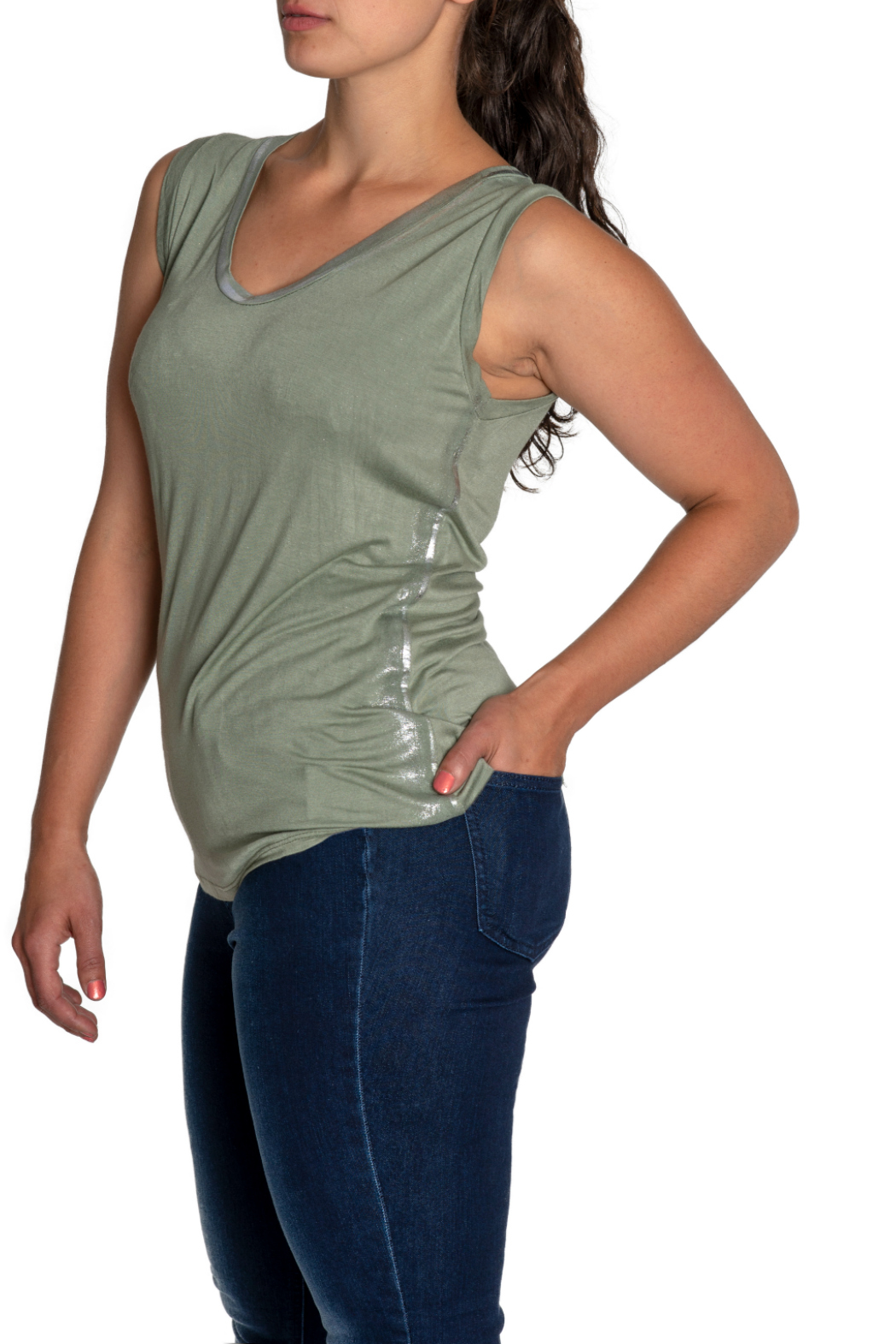 Brand Bazar Zadig tank w silver edging - Front Full Image