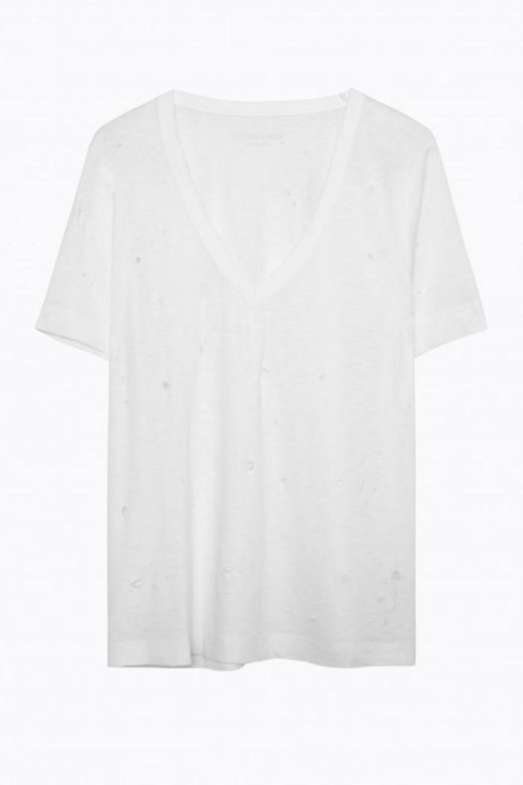 Zadig & Voltaire Wassa Distressed V-Neck - Front Cropped Image