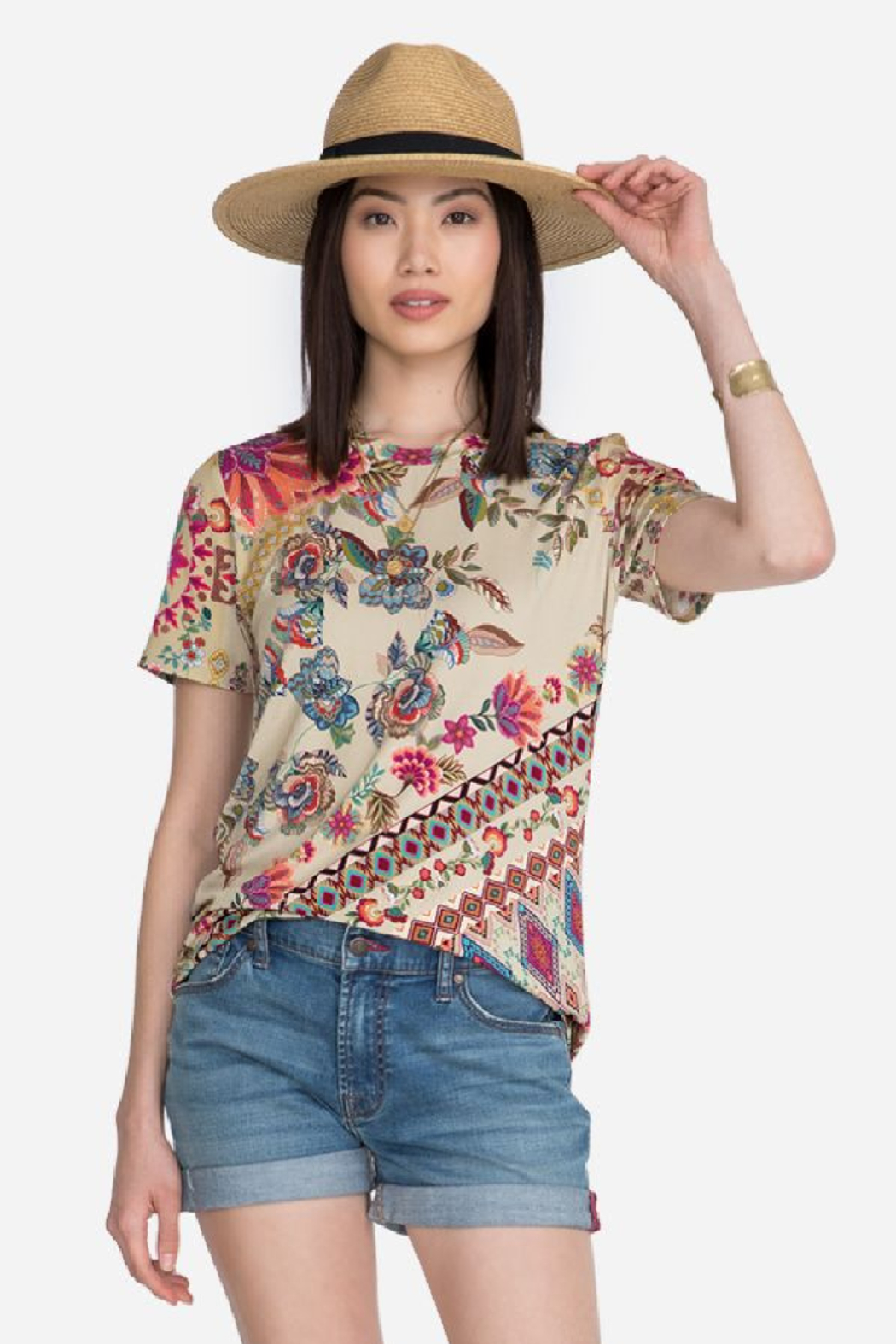 Johnny Was Zaki Short Sleeve Crew Tee - Front Cropped Image