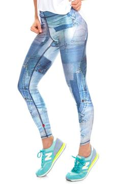 Shoptiques Product: Denim-Patchwork Performance Leggings