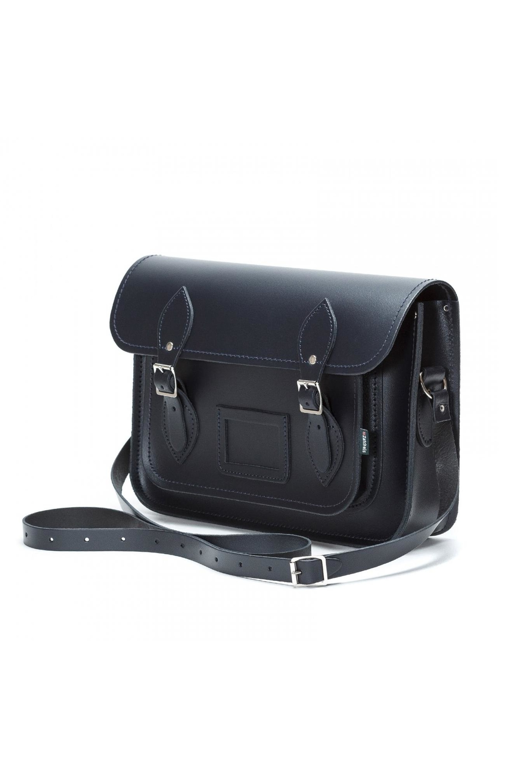 Zatchels Navy Leather Satchel - Front Cropped Image