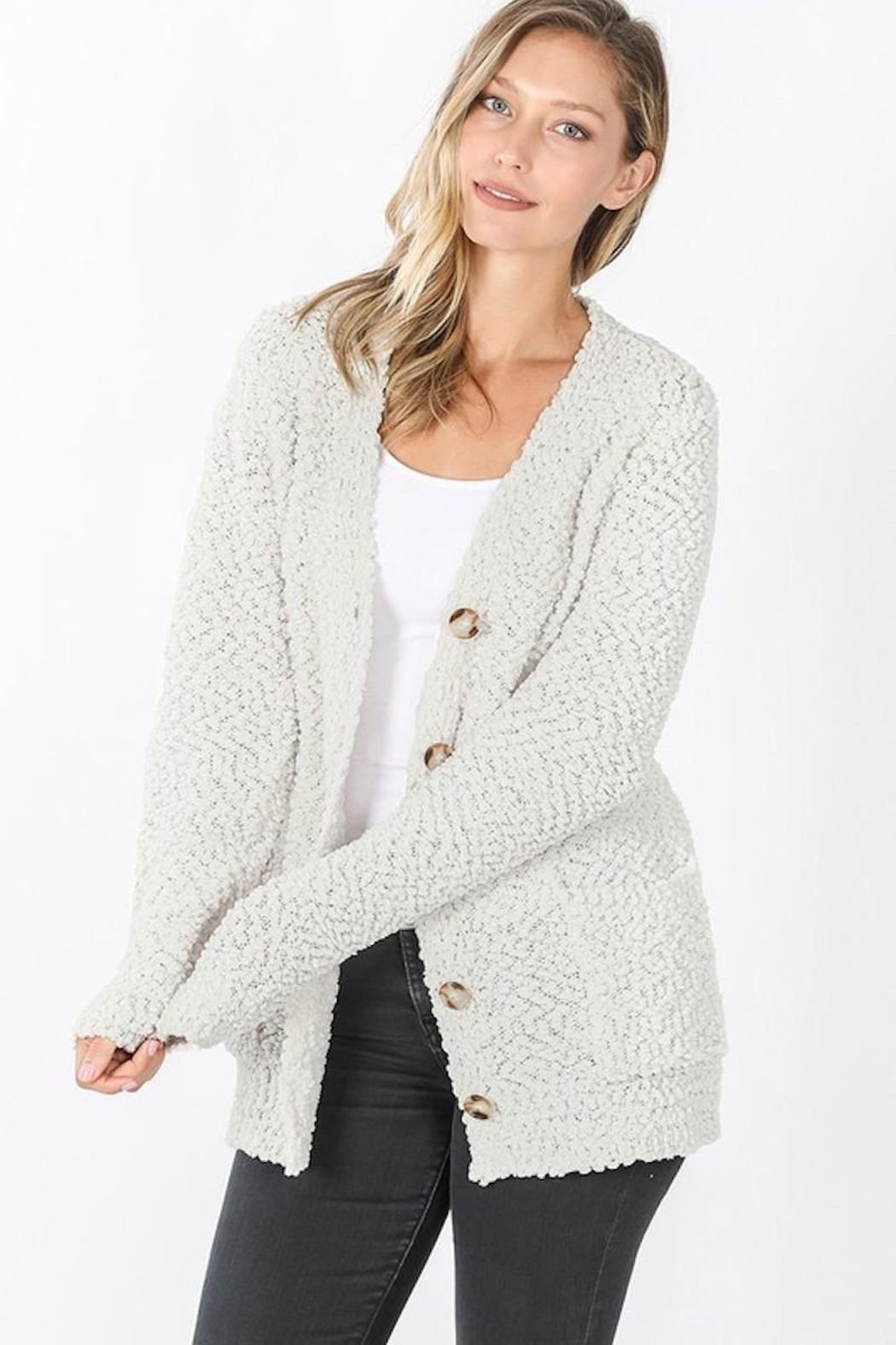 Zeana Outfitters Cream Popcorn Button Cardigan - Main Image