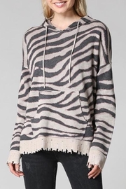 Fate Zebra Hooded Sweater - Front cropped