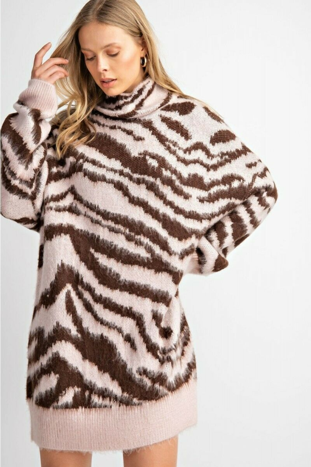 easel  Zebra Mohair Sweater - Back Cropped Image