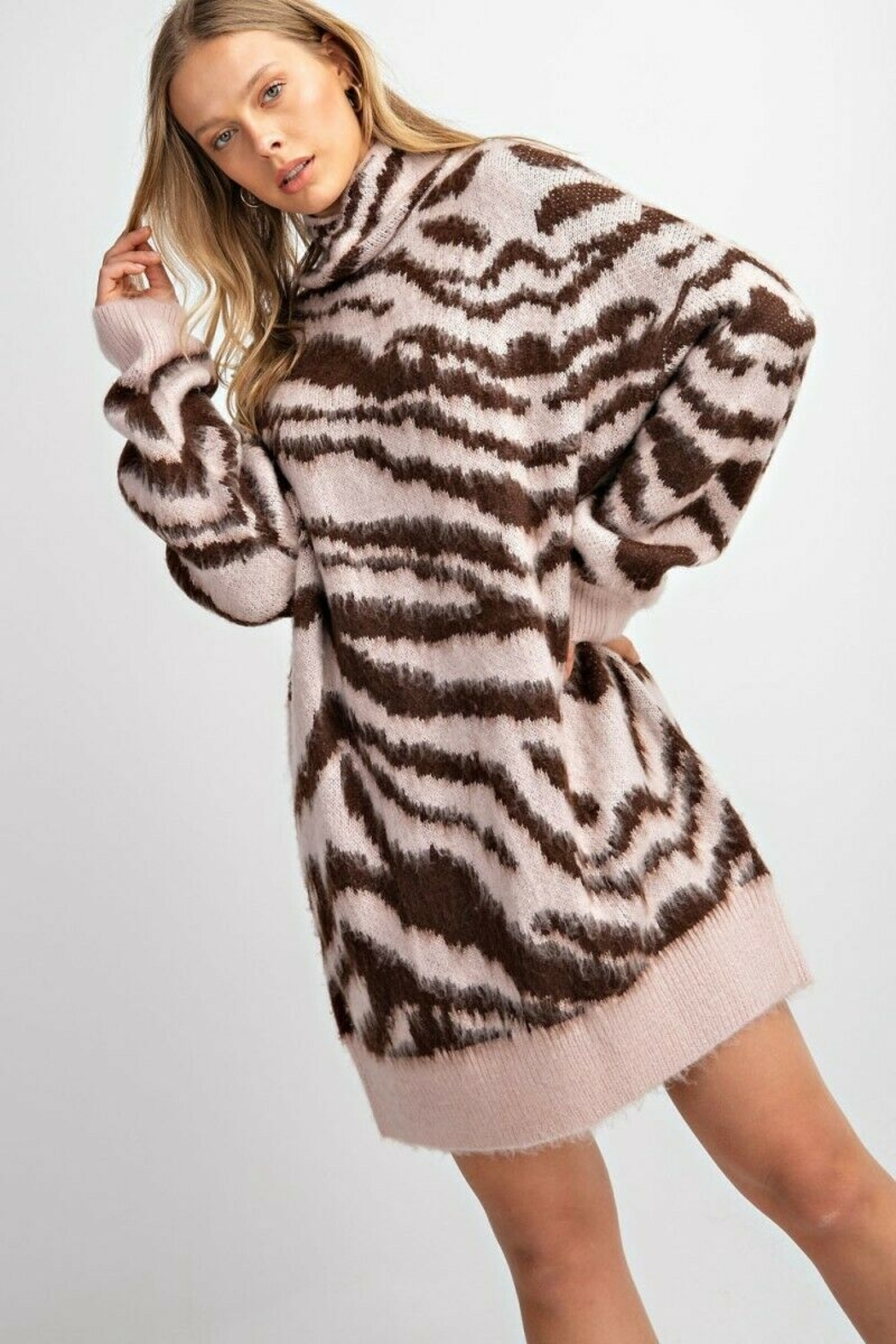 easel  Zebra Mohair Sweater - Side Cropped Image