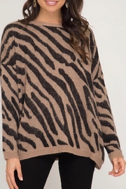 LuLu's Boutique Zebra Print Sweater - Product Mini Image