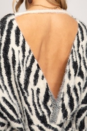 She and Sky Zebra Print Sweater With Twisted Back Open Detail - Side cropped