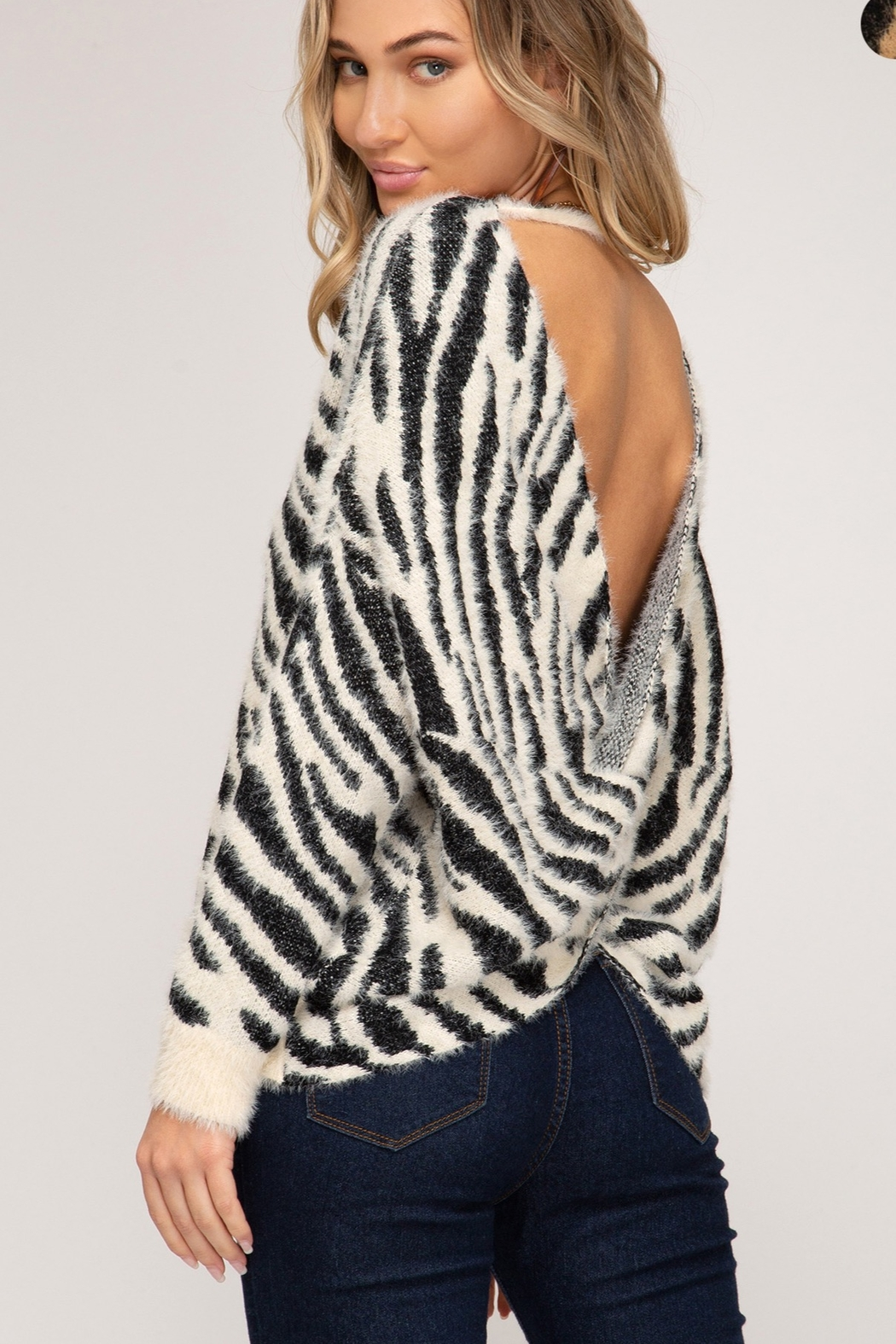 She and Sky Zebra Print Sweater With Twisted Back Open Detail - Front Full Image