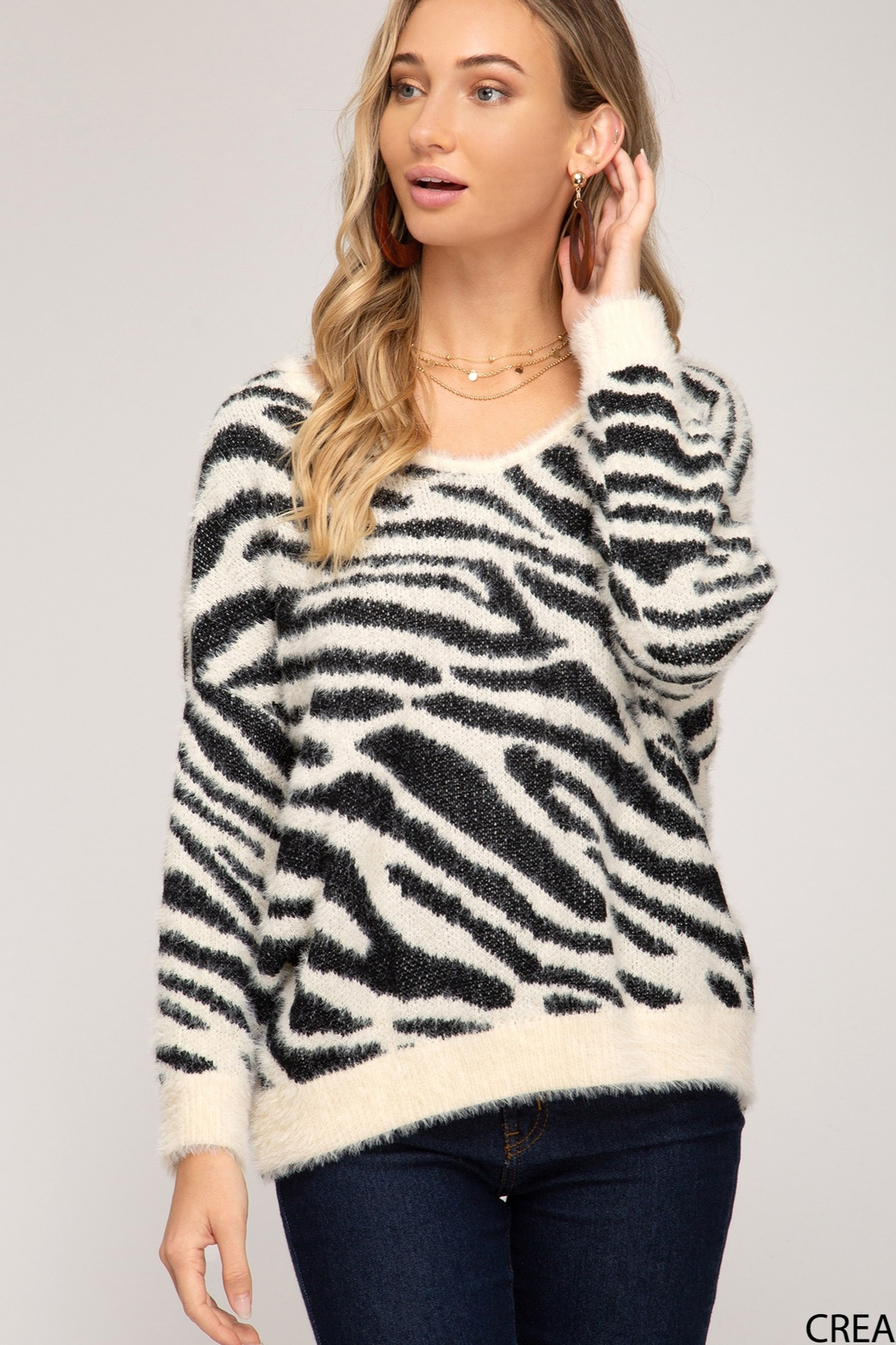 She and Sky Zebra Print Sweater With Twisted Back Open Detail - Main Image