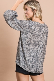 Bibi Zebra Print V Neck Top with Bubble Sleeves - Side cropped