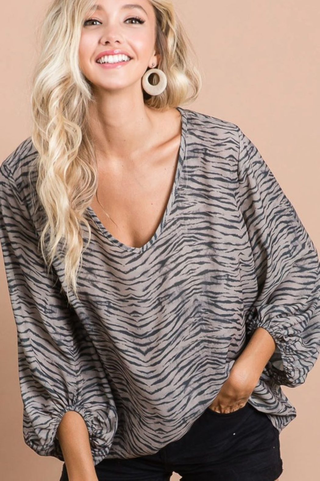 Bibi Zebra Print V Neck Top with Bubble Sleeves - Main Image