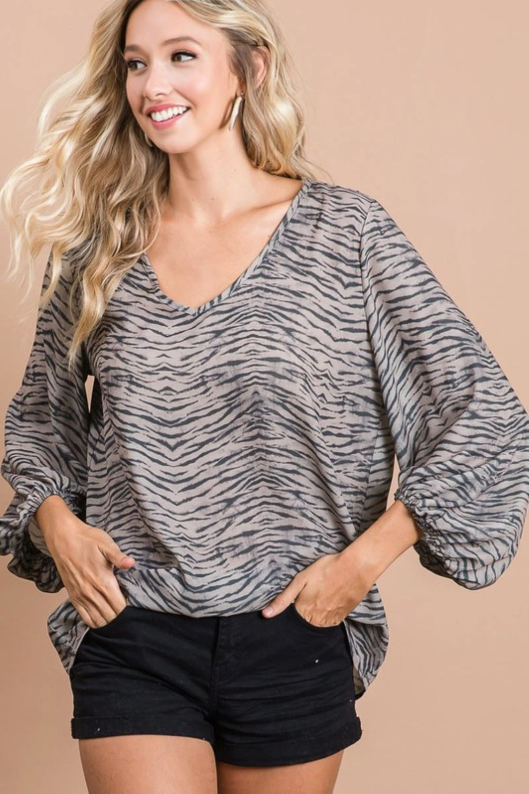Bibi Zebra Print V Neck Top with Bubble Sleeves - Front Full Image
