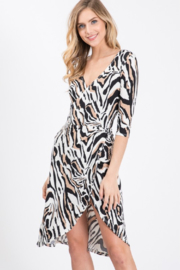 Love Tree Zebra Print Wrap Dress - Product Mini Image