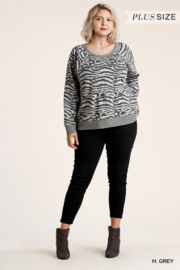 umgee  Zebra Printed Sweatshirt Top - Product Mini Image