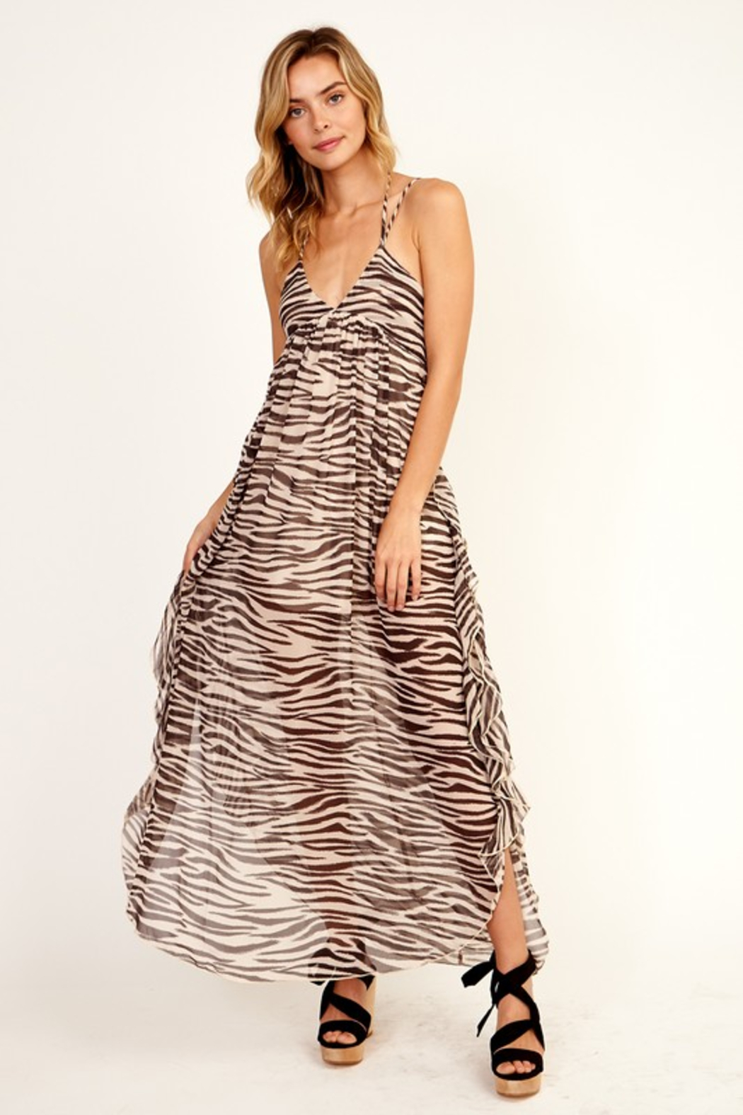 Olivaceous  Zebra Ruffle Maxi - Front Cropped Image