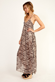 Olivaceous  Zebra Ruffle Maxi - Front full body