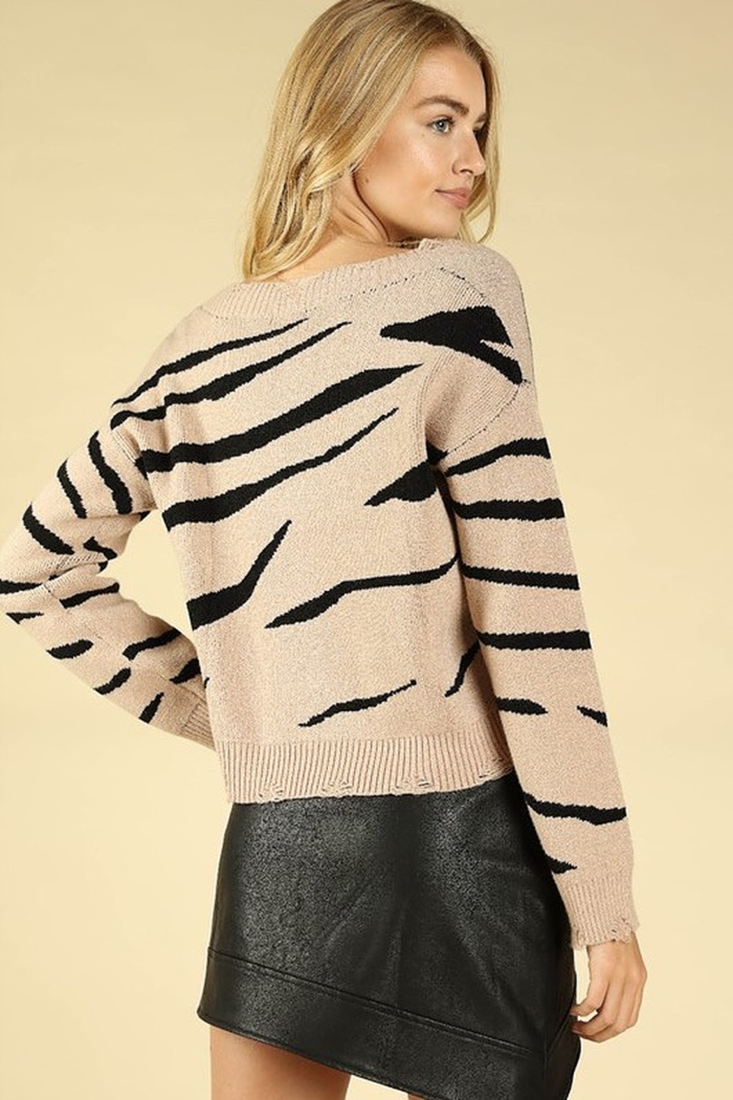 Honey Punch Zebra Stripe Distressed Sweater - Front Full Image