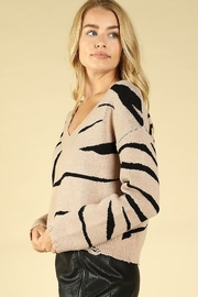 Honey Punch Zebra Stripe Distressed Sweater - Side cropped