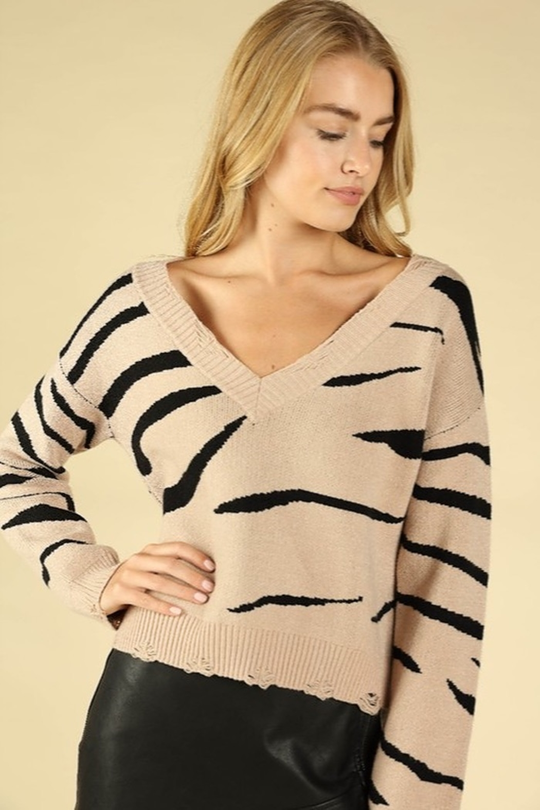 Honey Punch Zebra Stripe Distressed Sweater - Back Cropped Image