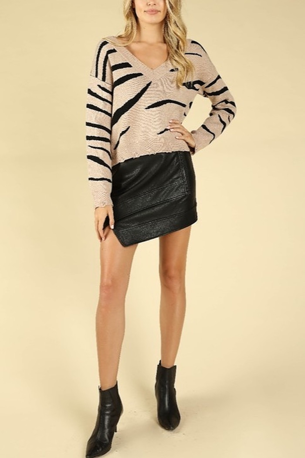 Honey Punch Zebra Stripe Distressed Sweater - Front Cropped Image