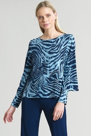 Clara Zebra stripe Print Peekaboo Cuff Sleeve Top - Product Mini Image