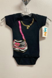 Sara Kety Zebra Stripe Purse with Gold Heart Necklace Snapsuit - Product Mini Image