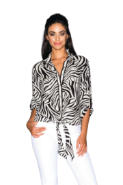Lily Moss Zebra Tie Front Blouse - Product Mini Image
