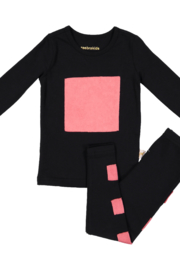 Zeebra Kids Salmon Pink Pajamas with Suede Patch - Front cropped