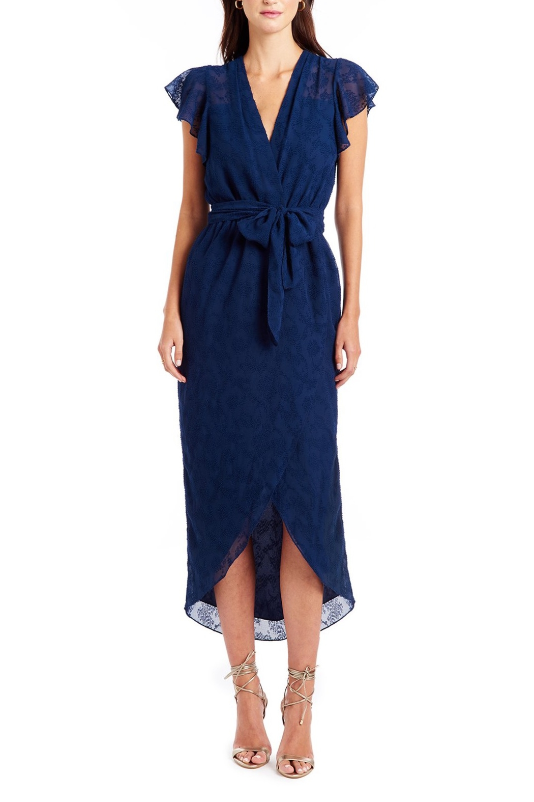 Amanda Uprichard Zelle Faux Wrap Midi Dress - Main Image