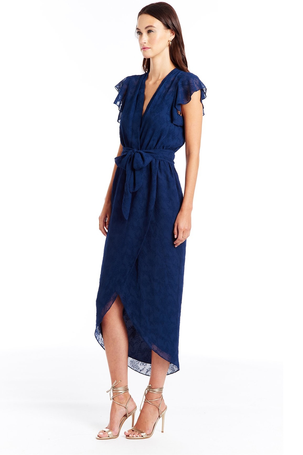 Amanda Uprichard Zelle Faux Wrap Midi Dress - Front Full Image