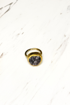 Nina Nguyen Designs Zen-Balance Gold Ring, Stone: Black Druzy - Product List Image