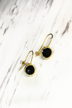 Shoptiques Product: Zen-Chillaxin Gold Earrings, Stone: Black Druzy