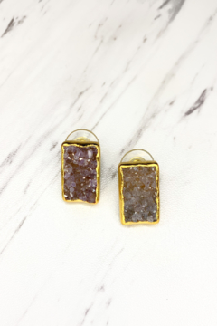 Shoptiques Product: Zen-Nirvana Gold Earrings, Stone: Chocolate Druzy