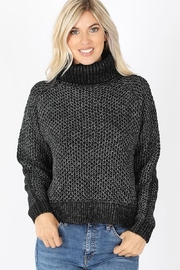 Zenana Black Waffle Sweater - Product Mini Image
