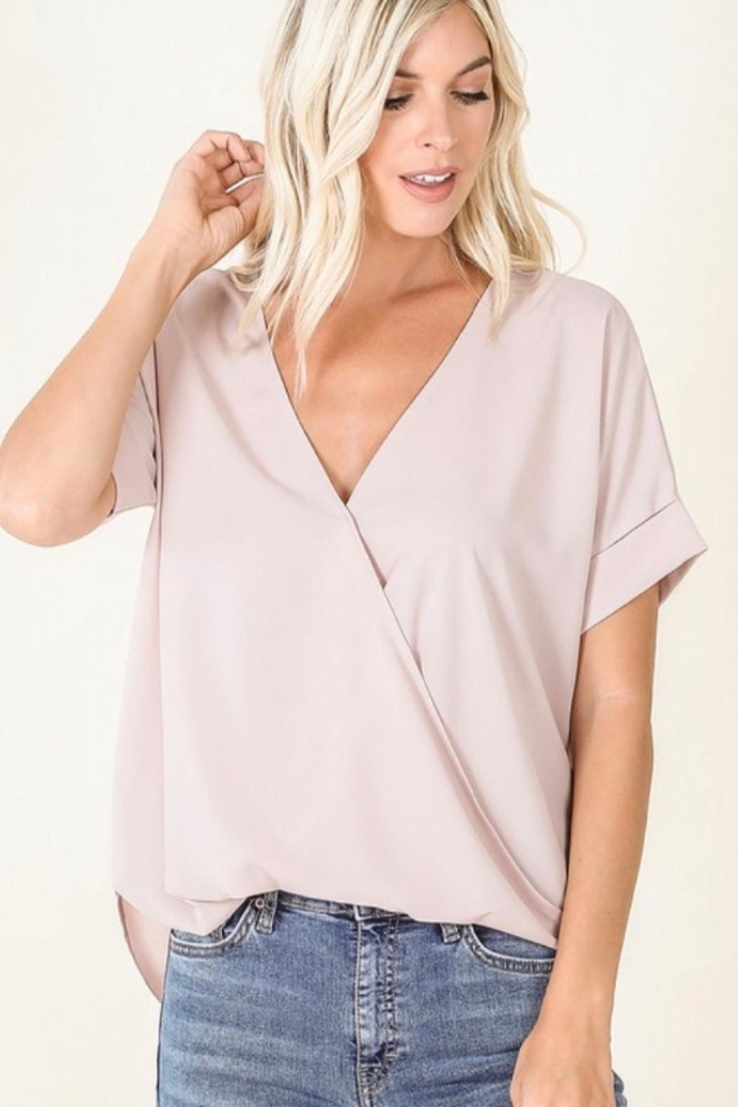 Zenana Blush Crossover Top - Main Image