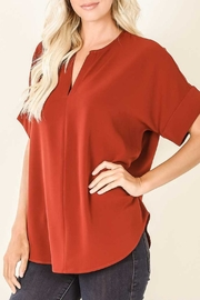 Zenana Brick Split-Neck Blouse - Product Mini Image