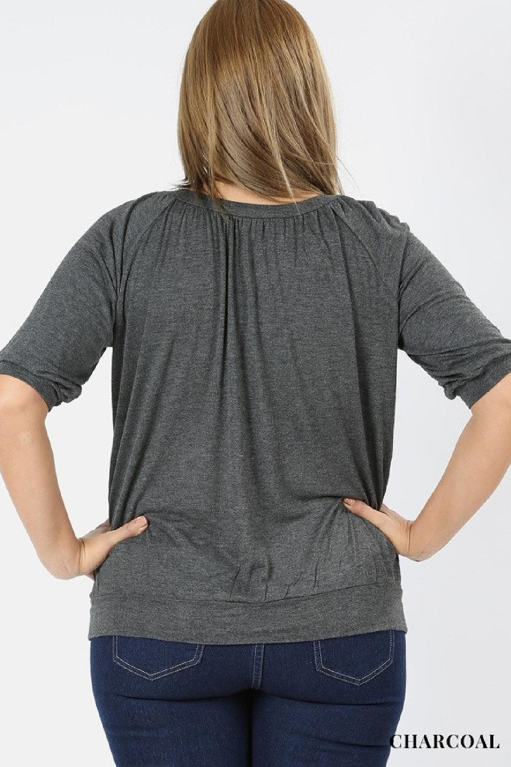 Zenana Charcoal Plus-Size Top - Front Full Image