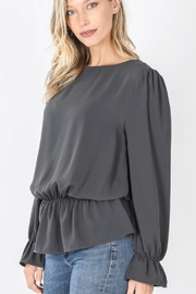 Zenana Grey Ruffle Top - Product Mini Image