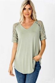 Zenana Lace Sleeve Tee - Front cropped